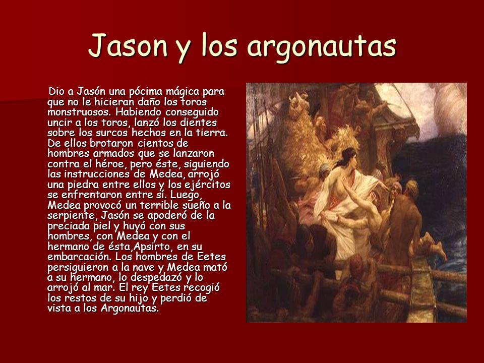 Jason y los argonautas Después de esto, los Argonautas emprendieron el regreso sorteando diversos peligros: tempestades, el asedio de las Sirenas, el ataque de los monstruos Escila y Caribdis.