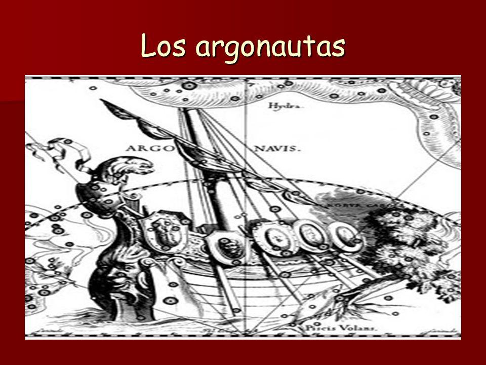Jason y los argonautas Jasón solicitó la ayuda de Argos, hijo de Frixo, y, por consejo de Atenea, construyó la nave Argo, que había de conducir a la Cólquide a Jasón, acompañado de un grupo de unos cincuenta héroes griegos, que tomaron el nombre de Argonautas: Orfeo, Cástor, Pólux...