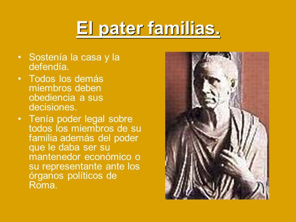 El pater familias. Sostenía la casa y la defendía. Todos los demás miembros deben obediencia a sus decisiones. Tenía poder legal sobre todos los miemb