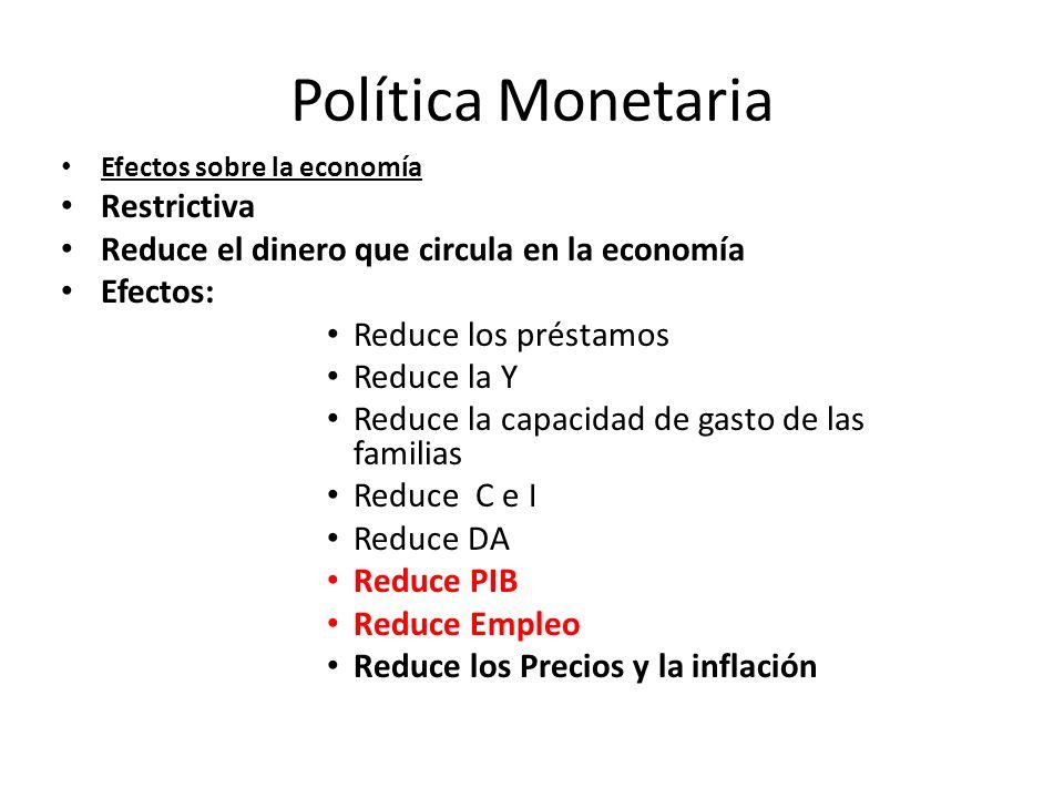 Política Monetaria Efectos sobre la economía Restrictiva Reduce el dinero que circula en la economía Efectos: Reduce los préstamos Reduce la Y Reduce
