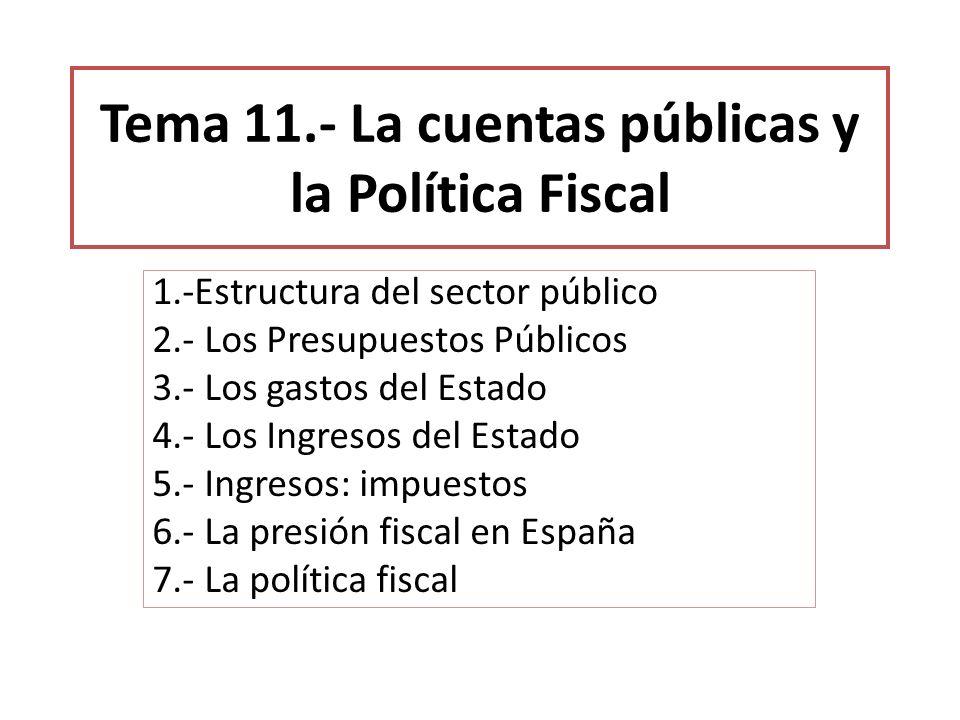 Tema 11.- La cuentas públicas y la Política Fiscal 1.-Estructura del sector público 2.- Los Presupuestos Públicos 3.- Los gastos del Estado 4.- Los In