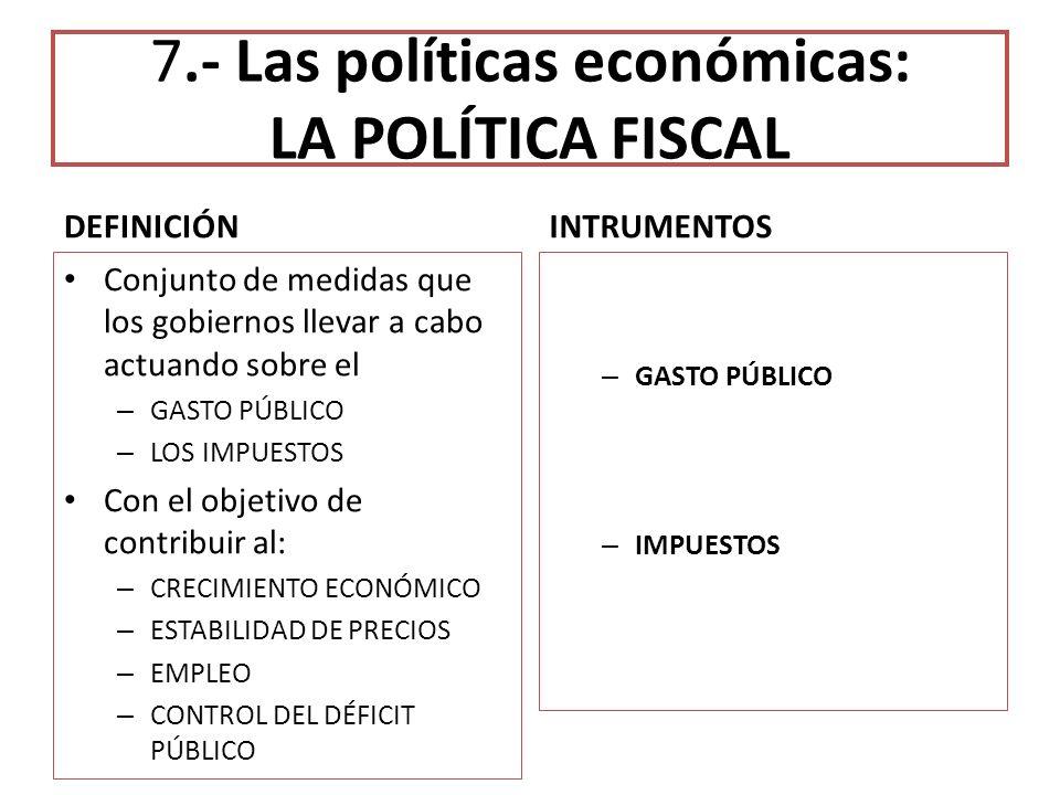 7.- Las políticas económicas: LA POLÍTICA FISCAL DEFINICIÓN Conjunto de medidas que los gobiernos llevar a cabo actuando sobre el – GASTO PÚBLICO – LO