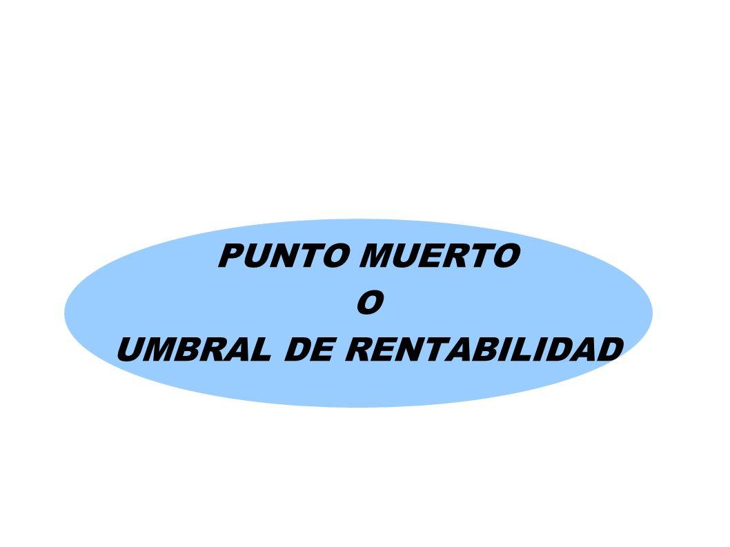PUNTO MUERTO O UMBRAL DE RENTABILIDAD