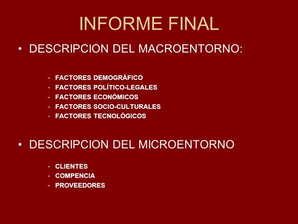 INFORME FINAL DESCRIPCION DEL MACROENTORNO: -FACTORES DEMOGRÁFICO -FACTORES POLÍTICO-LEGALES -FACTORES ECONÓMICOS -FACTORES SOCIO-CULTURALES -FACTORES