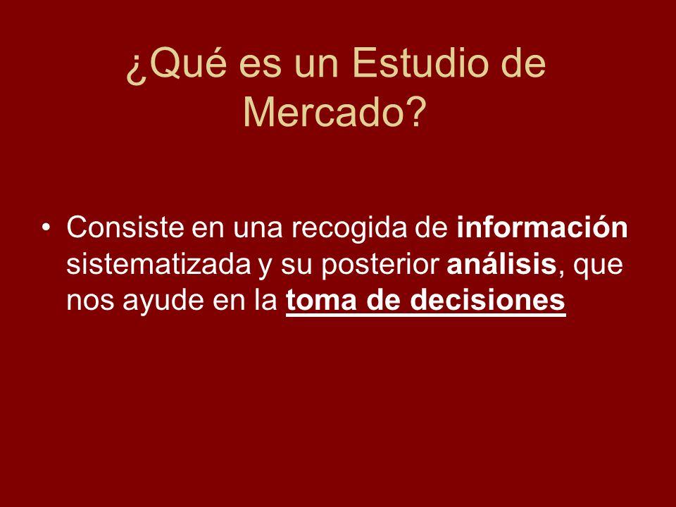 ¿Qué es un Estudio de Mercado? Consiste en una recogida de información sistematizada y su posterior análisis, que nos ayude en la toma de decisiones
