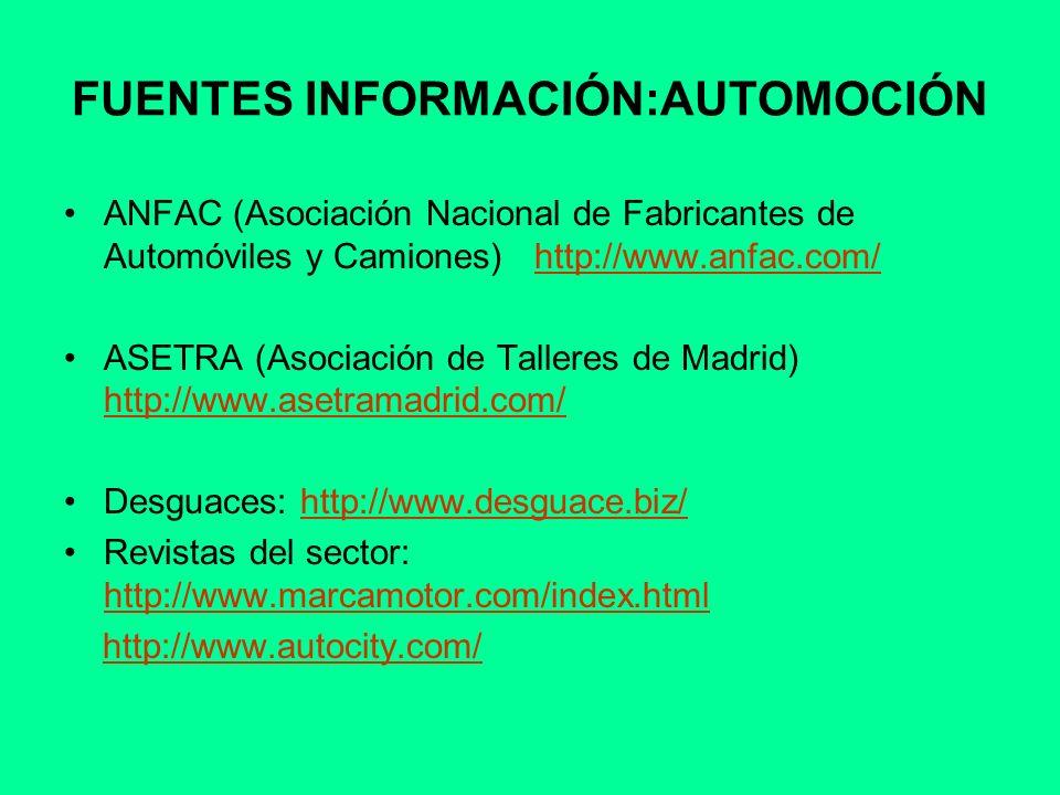 FUENTES INFORMACIÓN:AUTOMOCIÓN ANFAC (Asociación Nacional de Fabricantes de Automóviles y Camiones) http://www.anfac.com/http://www.anfac.com/ ASETRA
