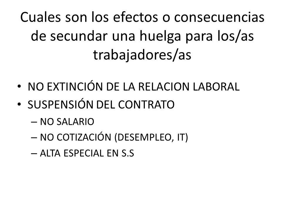 Cuales son los efectos o consecuencias de secundar una huelga para los/as trabajadores/as NO EXTINCIÓN DE LA RELACION LABORAL SUSPENSIÓN DEL CONTRATO