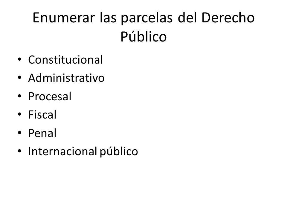 Enumerar las parcelas del Derecho Público Constitucional Administrativo Procesal Fiscal Penal Internacional público