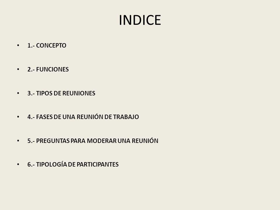 INDICE 1.- CONCEPTO 2.- FUNCIONES 3.- TIPOS DE REUNIONES 4.- FASES DE UNA REUNIÓN DE TRABAJO 5.- PREGUNTAS PARA MODERAR UNA REUNIÓN 6.- TIPOLOGÍA DE P