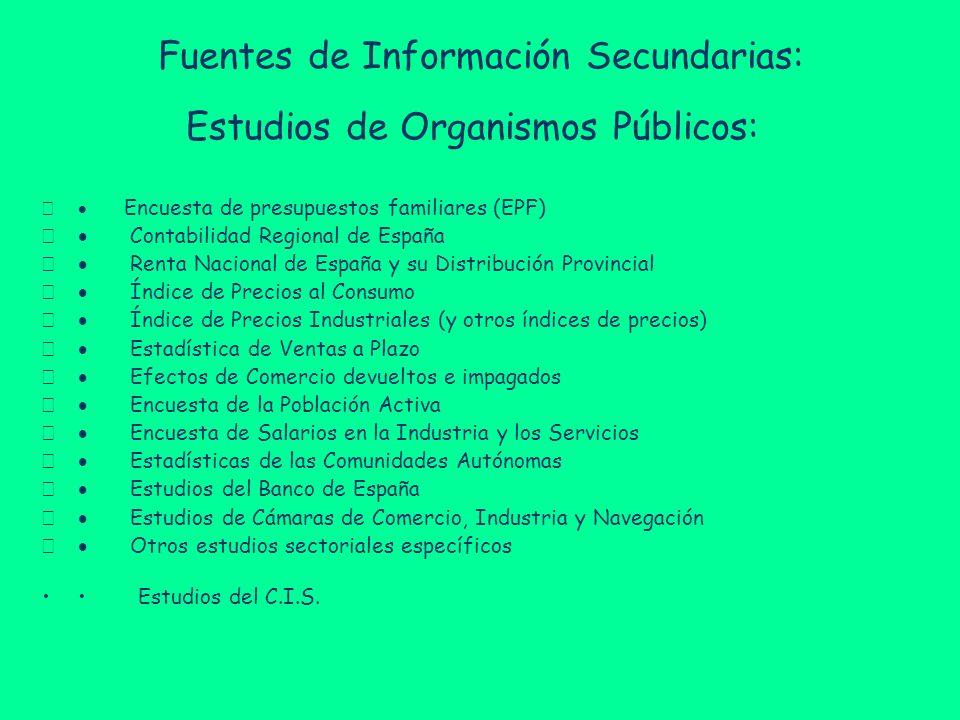 Fuentes de Información Secundarias: Estudios de Organismos Públicos: Encuesta de presupuestos familiares (EPF) Contabilidad Regional de España Renta N