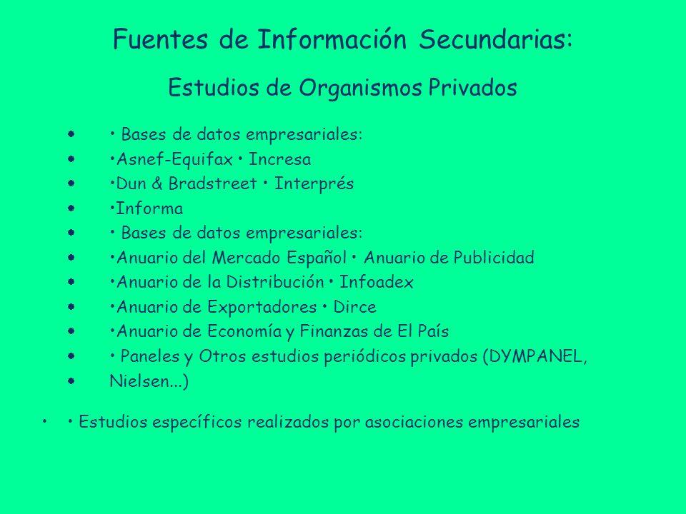 Fuentes de Información Secundarias: Estudios de Organismos Privados Bases de datos empresariales: Asnef-Equifax Incresa Dun & Bradstreet Interprés Inf