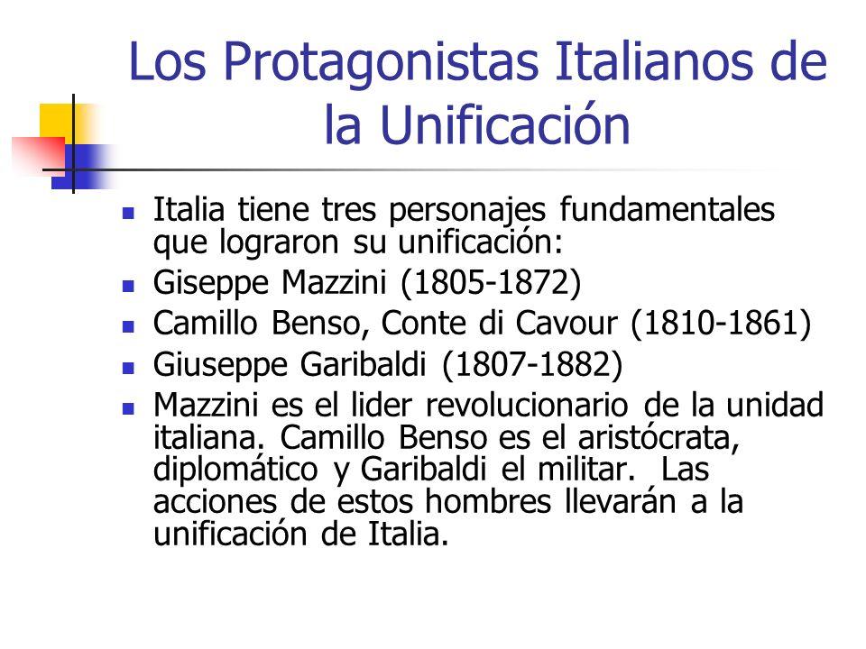 Los Protagonistas Italianos de la Unificación Italia tiene tres personajes fundamentales que lograron su unificación: Giseppe Mazzini (1805-1872) Cami
