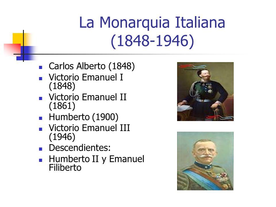 La Monarquia Italiana (1848-1946) Carlos Alberto (1848) Victorio Emanuel I (1848) Victorio Emanuel II (1861) Humberto (1900) Victorio Emanuel III (194