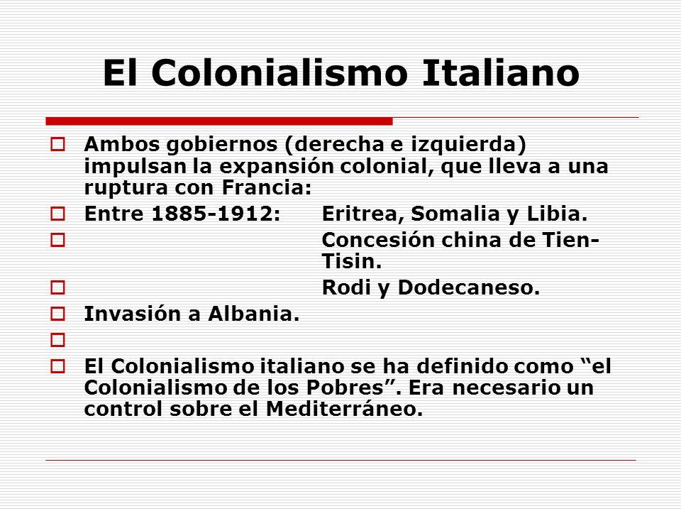 El Colonialismo Italiano Ambos gobiernos (derecha e izquierda) impulsan la expansión colonial, que lleva a una ruptura con Francia: Entre 1885-1912: E