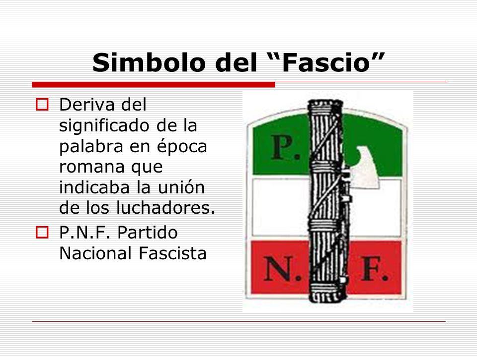 Simbolo del Fascio Deriva del significado de la palabra en época romana que indicaba la unión de los luchadores. P.N.F. Partido Nacional Fascista