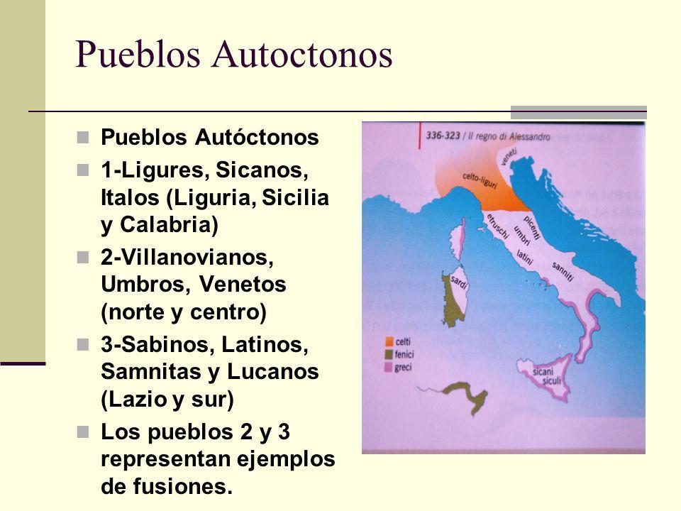 Pueblos Autoctonos Pueblos Autóctonos 1-Ligures, Sicanos, Italos (Liguria, Sicilia y Calabria) 2-Villanovianos, Umbros, Venetos (norte y centro) 3-Sab