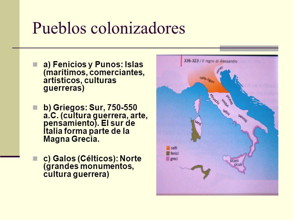 Pueblos colonizadores a) Fenicios y Punos: Islas (marítimos, comerciantes, artísticos, culturas guerreras) b) Griegos: Sur, 750-550 a.C. (cultura guer