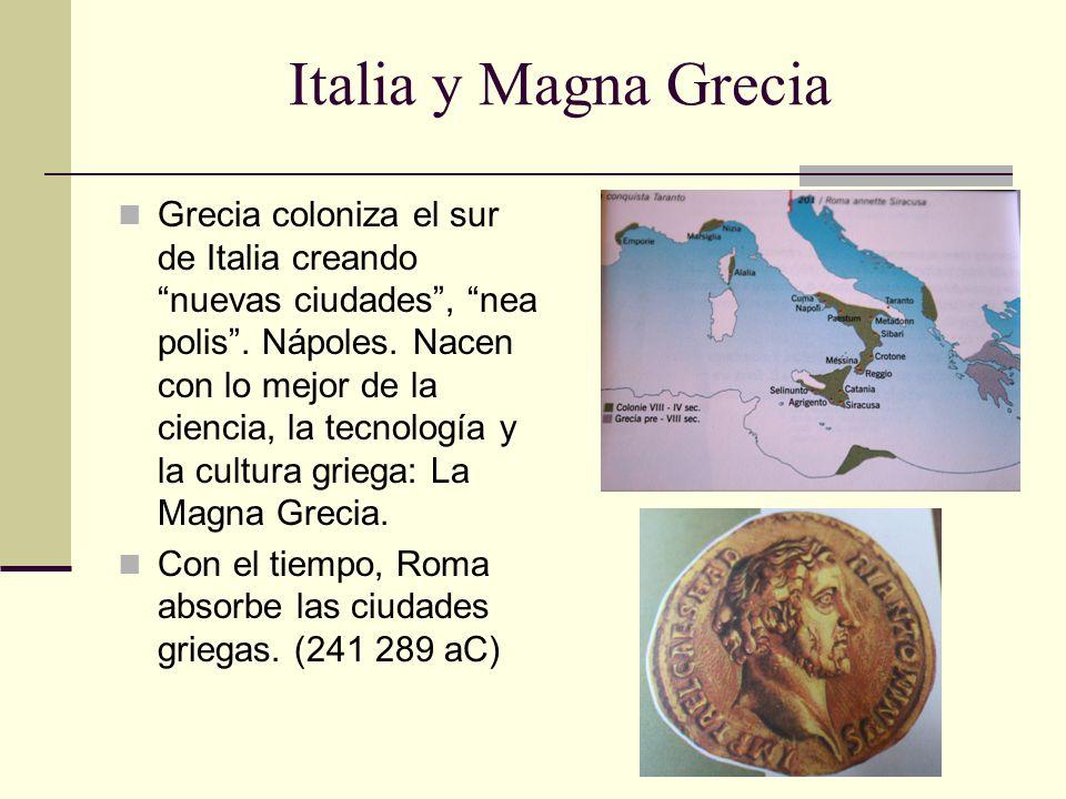 Italia y Magna Grecia Grecia coloniza el sur de Italia creando nuevas ciudades, nea polis. Nápoles. Nacen con lo mejor de la ciencia, la tecnología y