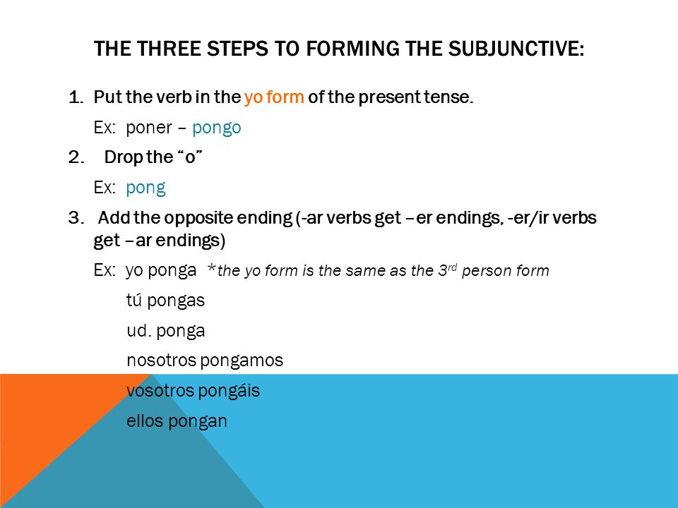 THE THREE STEPS TO FORMING THE SUBJUNCTIVE: 1.Put the verb in the yo form of the present tense. Ex: poner – pongo 2. Drop the o Ex: pong 3. Add the op