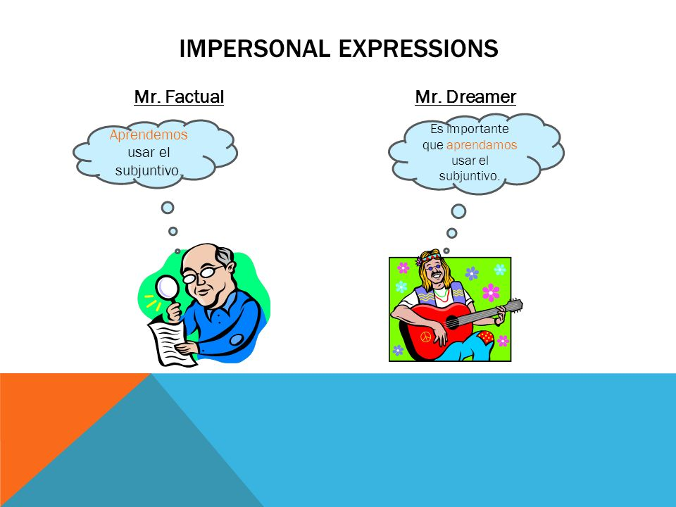 Mr. FactualMr. Dreamer IMPERSONAL EXPRESSIONS Aprendemos usar el subjuntivo. Es importante que aprendamos usar el subjuntivo.