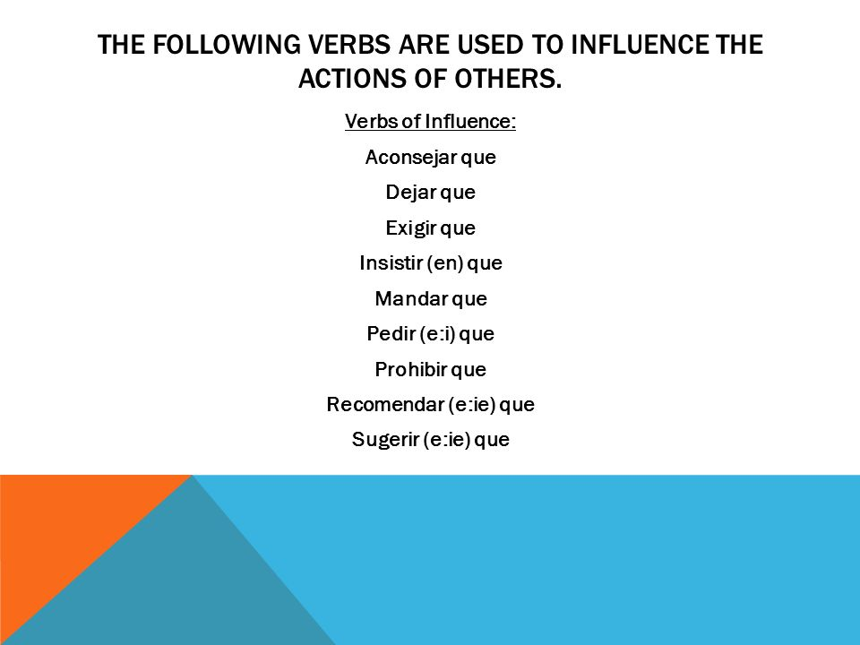 THE FOLLOWING VERBS ARE USED TO INFLUENCE THE ACTIONS OF OTHERS. Verbs of Influence: Aconsejar que Dejar que Exigir que Insistir (en) que Mandar que P