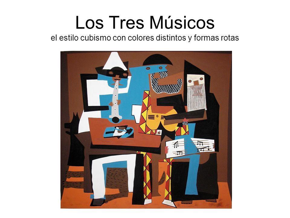 Los Tres Músicos el estilo cubismo con colores distintos y formas rotas