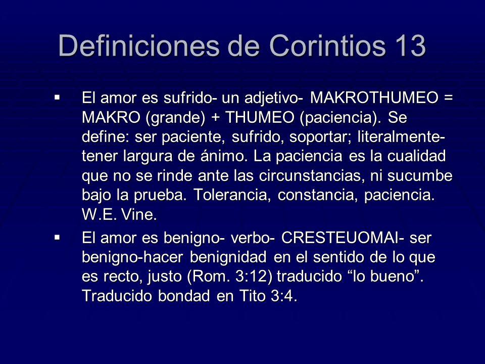 Definiciones de Corintios 13 El amor es sufrido- un adjetivo- MAKROTHUMEO = MAKRO (grande) + THUMEO (paciencia). Se define: ser paciente, sufrido, sop