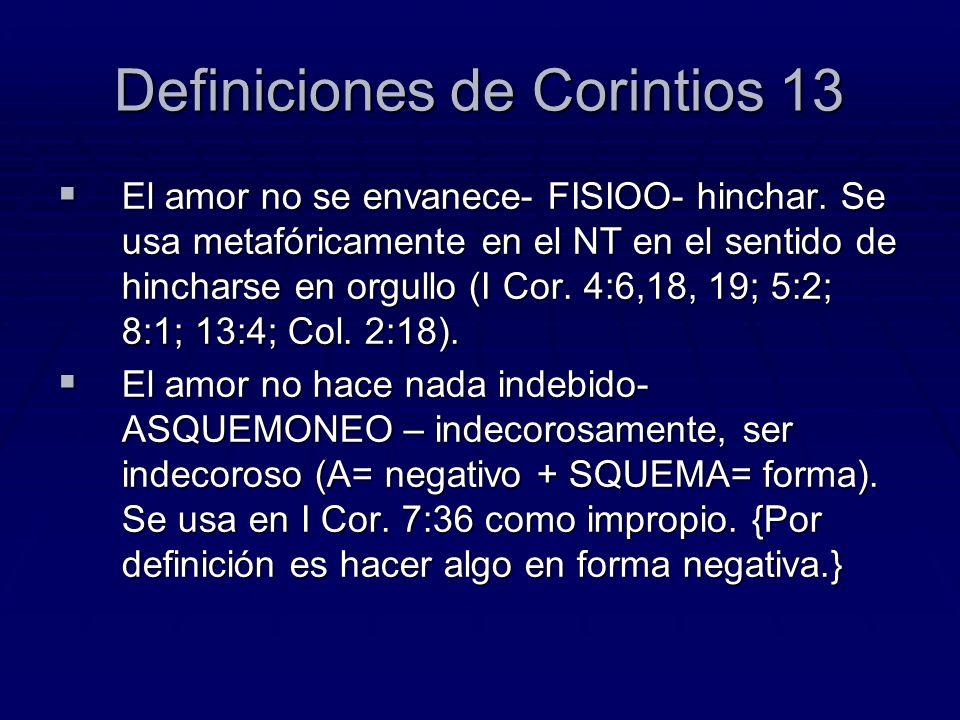 Definiciones de Corintios 13 El amor no se envanece- FISIOO- hinchar. Se usa metafóricamente en el NT en el sentido de hincharse en orgullo (I Cor. 4: