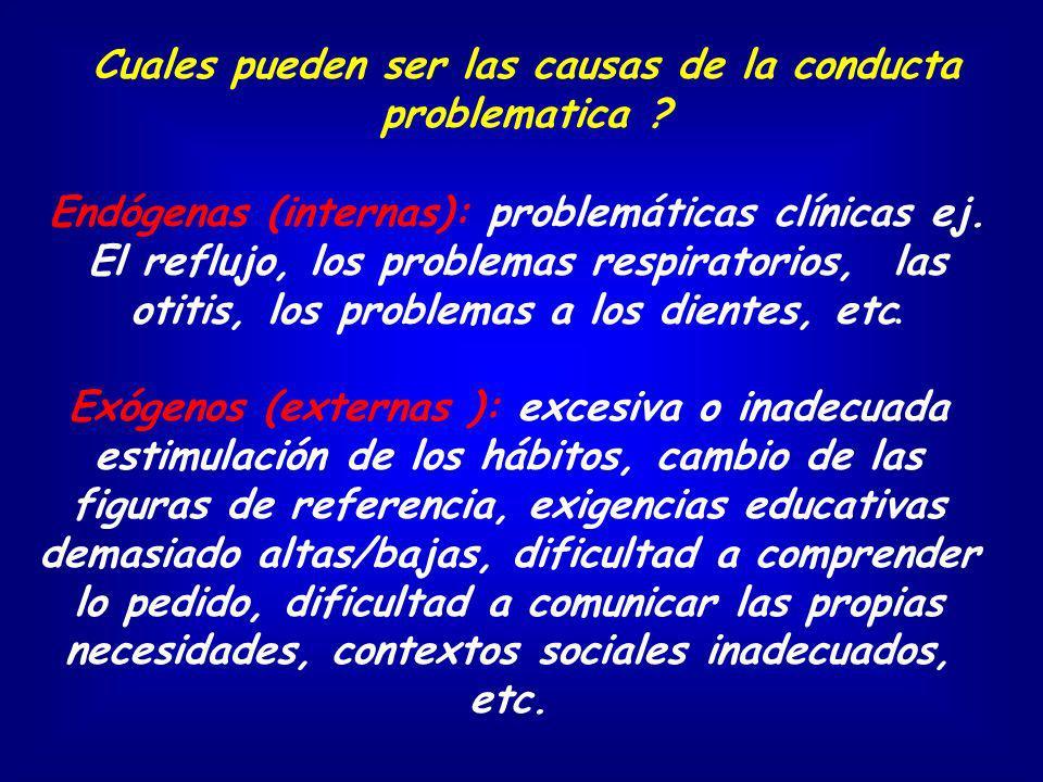 Cuales pueden ser las causas de la conducta problematica ? Endógenas (internas): problemáticas clínicas ej. El reflujo, los problemas respiratorios, l