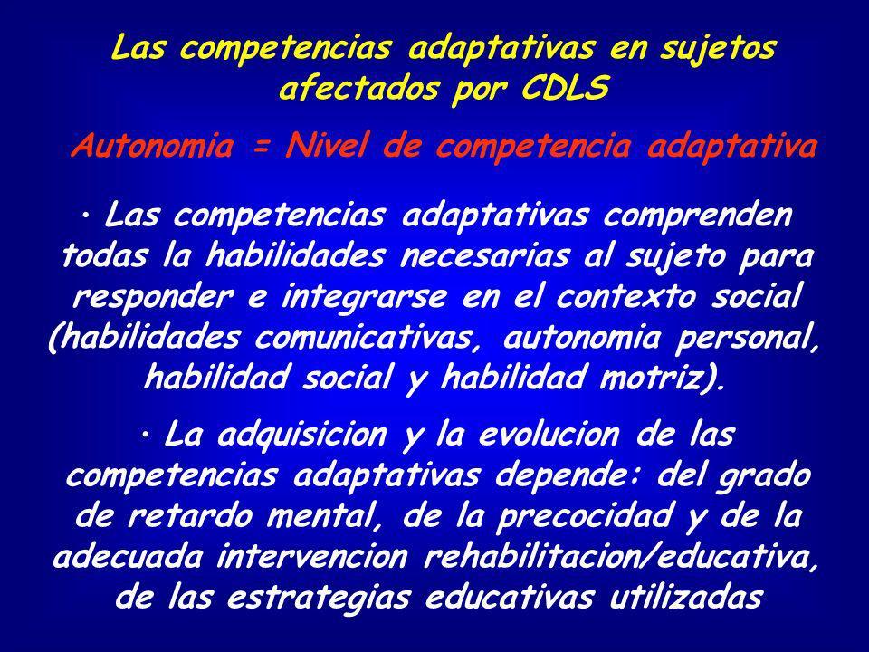 Las competencias adaptativas comprenden todas la habilidades necesarias al sujeto para responder e integrarse en el contexto social (habilidades comun