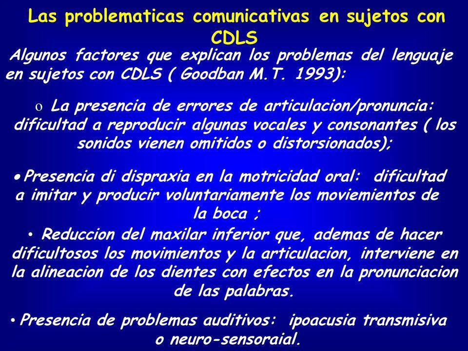 Algunos factores que explican los problemas del lenguaje en sujetos con CDLS ( Goodban M.T. 1993): o La presencia de errores de articulacion/pronuncia