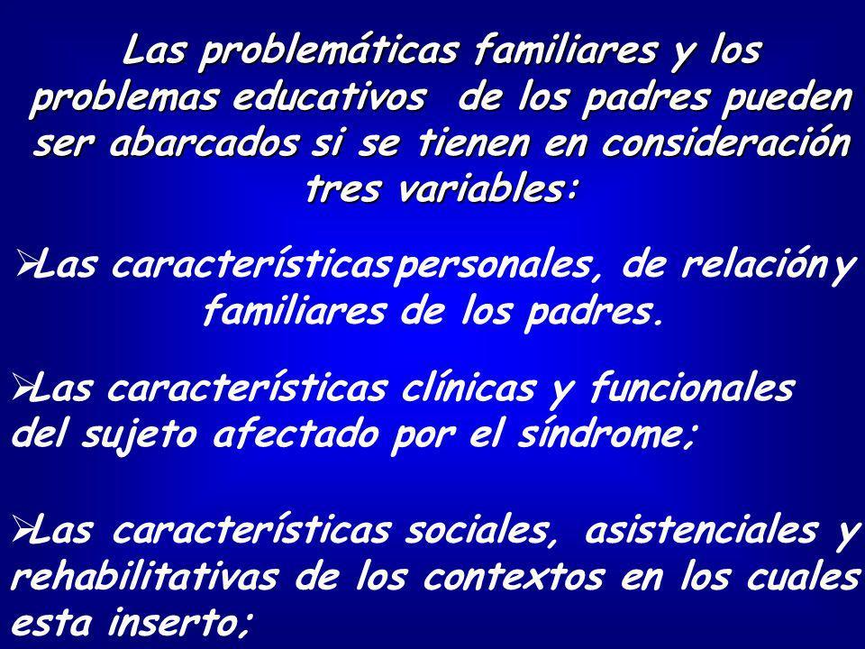 Las características clínicas y funcionales del sujeto afectado por el síndrome; Las problemáticas familiares y los problemas educativos de los padres