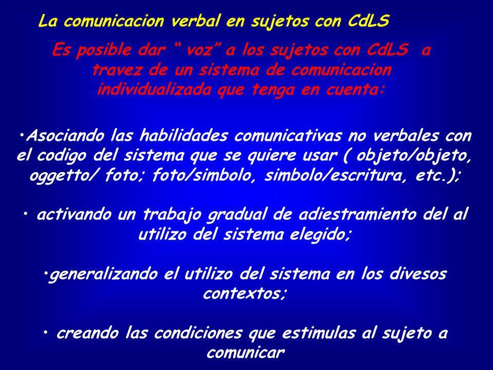 Asociando las habilidades comunicativas no verbales con el codigo del sistema que se quiere usar ( objeto/objeto, oggetto/ foto; foto/simbolo, simbolo