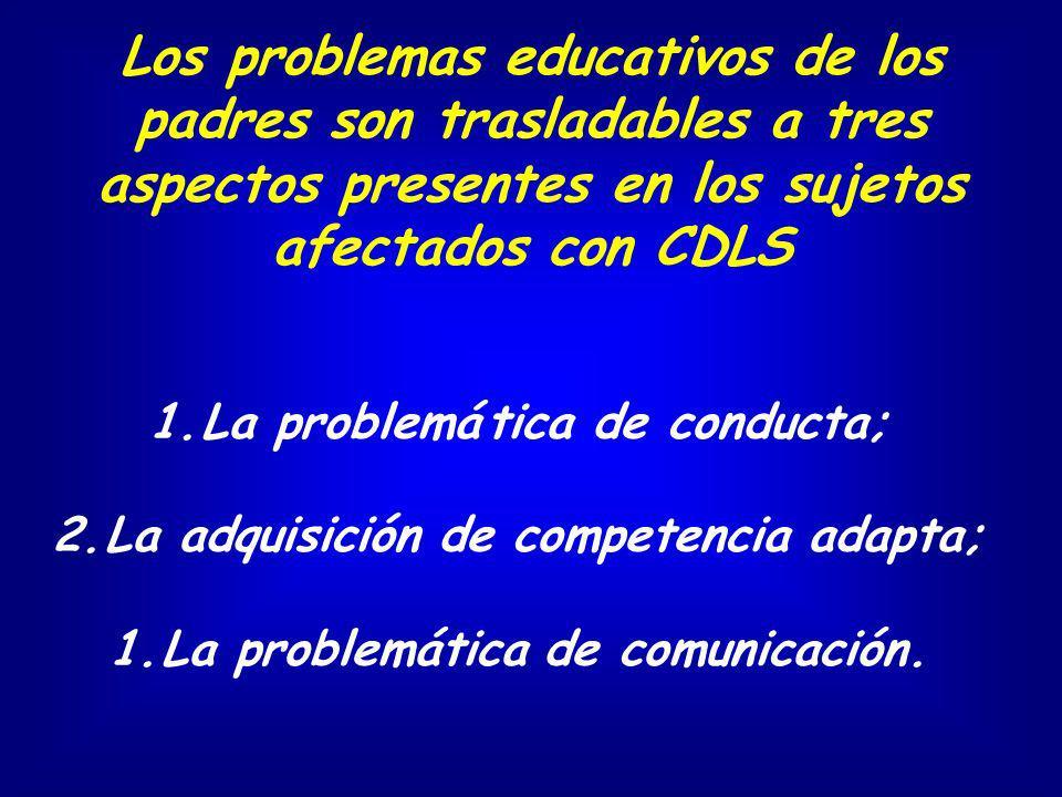 Los problemas educativos de los padres son trasladables a tres aspectos presentes en los sujetos afectados con CDLS 1.La problemá tica de conducta; 2.