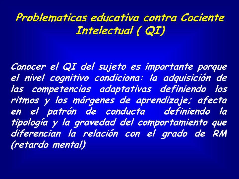 Conocer el QI del sujeto es importante porque el nivel cognitivo condiciona: la adquisición de las competencias adaptativas definiendo los ritmos y lo