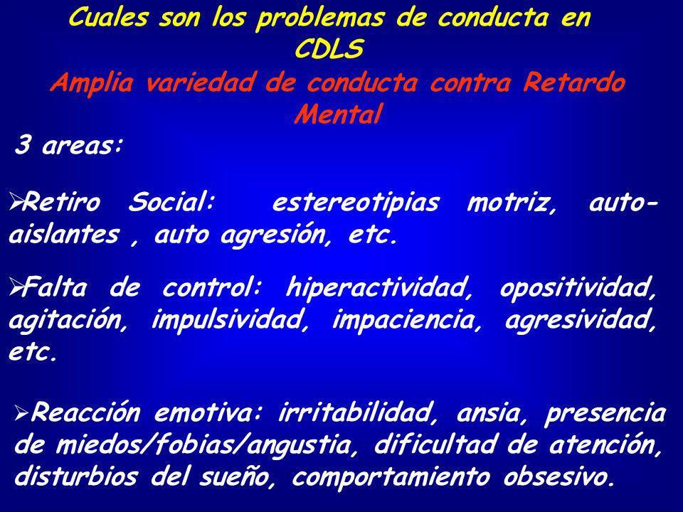 3 areas: Falta de control: hiperactividad, opositividad, agitación, impulsividad, impaciencia, agresividad, etc. Reacción emotiva: irritabilidad, ansi