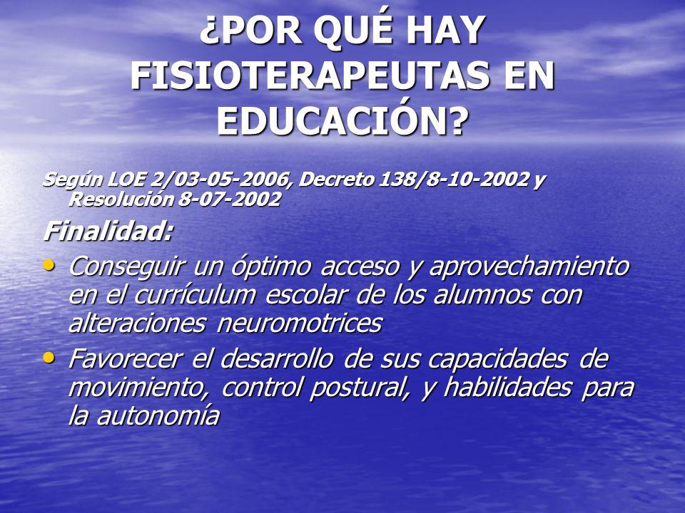 ¿POR QUÉ HAY FISIOTERAPEUTAS EN EDUCACIÓN? Según LOE 2/03-05-2006, Decreto 138/8-10-2002 y Resolución 8-07-2002 Finalidad: Conseguir un óptimo acceso