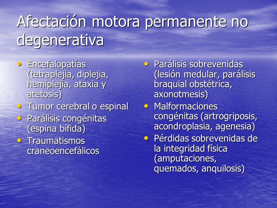 Afectación motora permanente no degenerativa Encefalopatías (tetraplejia, diplejia, hemiplejia, ataxia y atetosis) Encefalopatías (tetraplejia, diplej