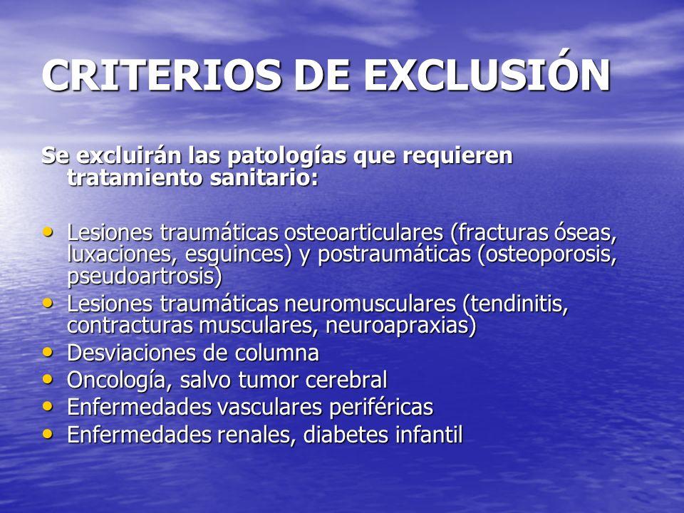 CRITERIOS DE EXCLUSIÓN Se excluirán las patologías que requieren tratamiento sanitario: Lesiones traumáticas osteoarticulares (fracturas óseas, luxaci