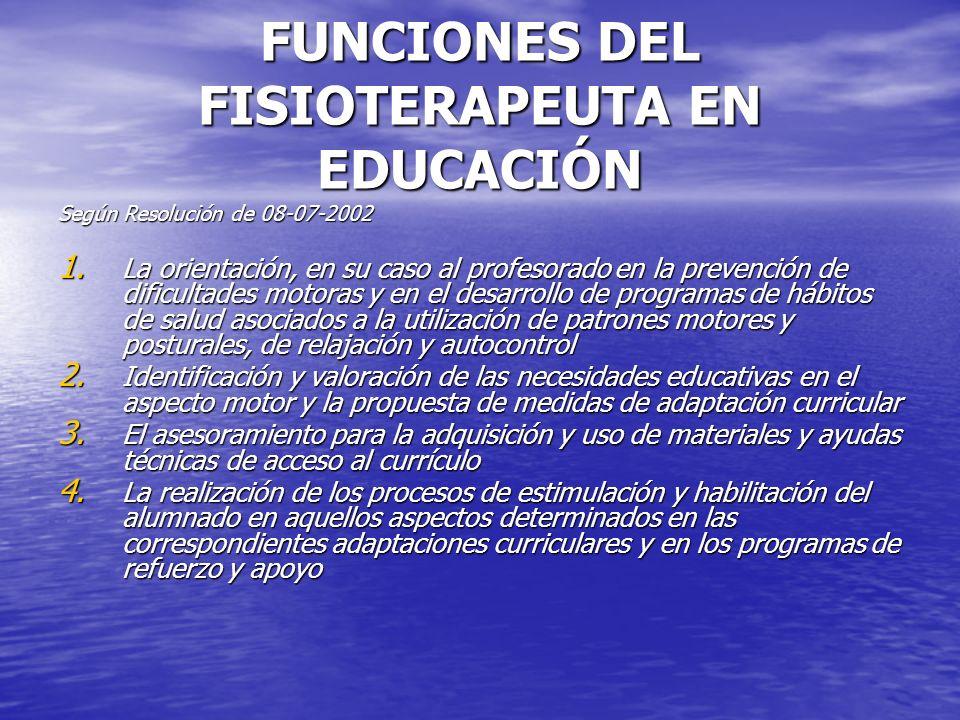 FUNCIONES DEL FISIOTERAPEUTA EN EDUCACIÓN Según Resolución de 08-07-2002 1. La orientación, en su caso al profesorado en la prevención de dificultades