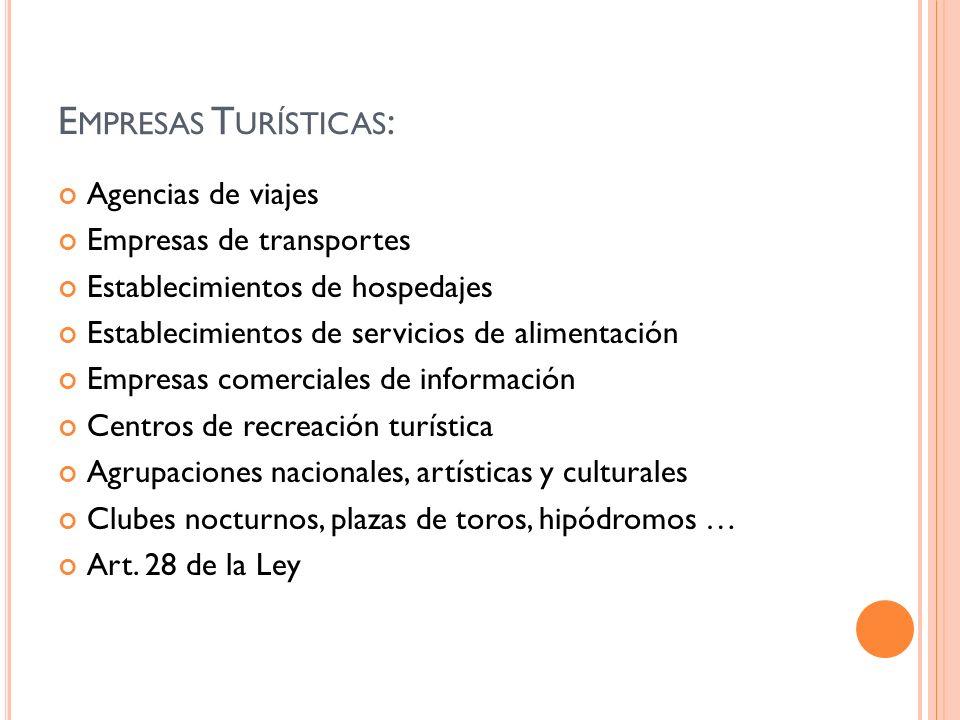 E MPRESAS T URÍSTICAS : Agencias de viajes Empresas de transportes Establecimientos de hospedajes Establecimientos de servicios de alimentación Empres