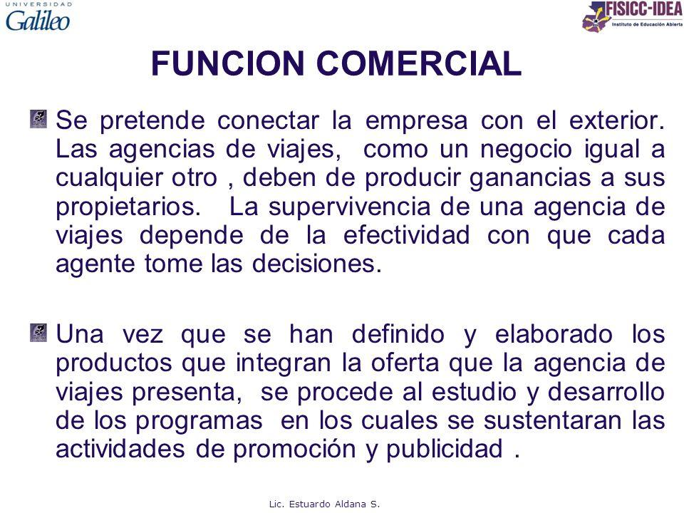 FUNCION COMERCIAL Se pretende conectar la empresa con el exterior. Las agencias de viajes, como un negocio igual a cualquier otro, deben de producir g