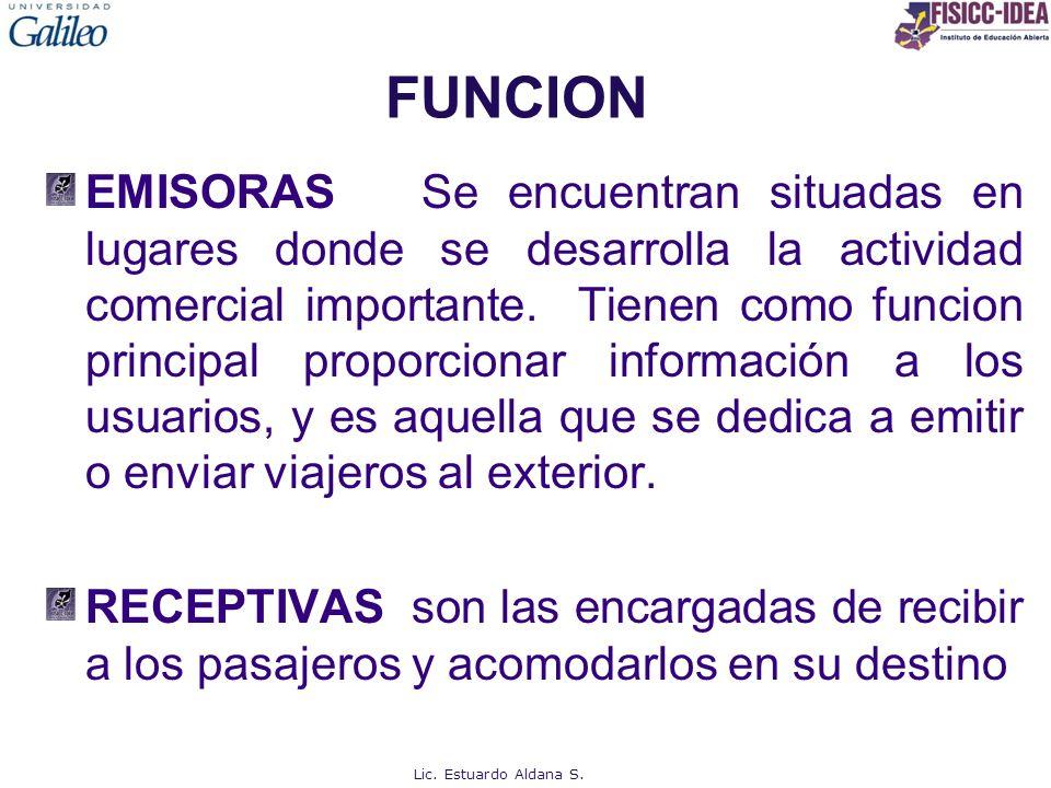 FUNCION EMISORAS Se encuentran situadas en lugares donde se desarrolla la actividad comercial importante. Tienen como funcion principal proporcionar i