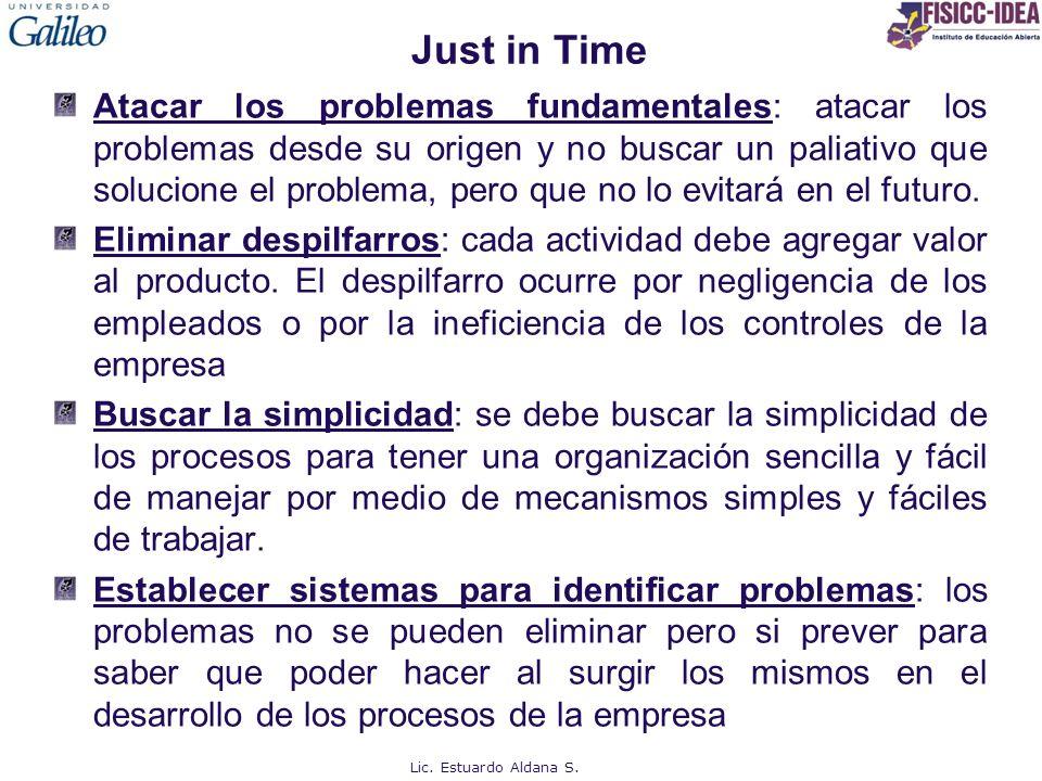 Just in Time Atacar los problemas fundamentales: atacar los problemas desde su origen y no buscar un paliativo que solucione el problema, pero que no