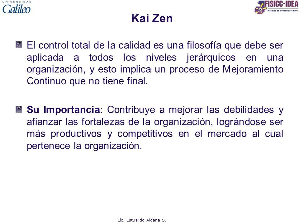 Kai Zen El control total de la calidad es una filosofía que debe ser aplicada a todos los niveles jerárquicos en una organización, y esto implica un p