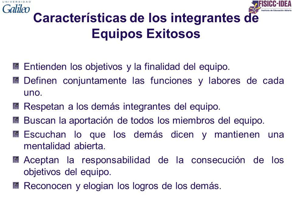 Características de los integrantes de Equipos Exitosos Entienden los objetivos y la finalidad del equipo. Definen conjuntamente las funciones y labore