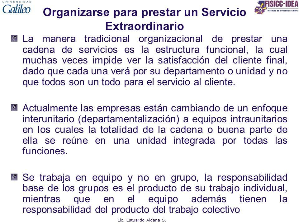 Organizarse para prestar un Servicio Extraordinario La manera tradicional organizacional de prestar una cadena de servicios es la estructura funcional