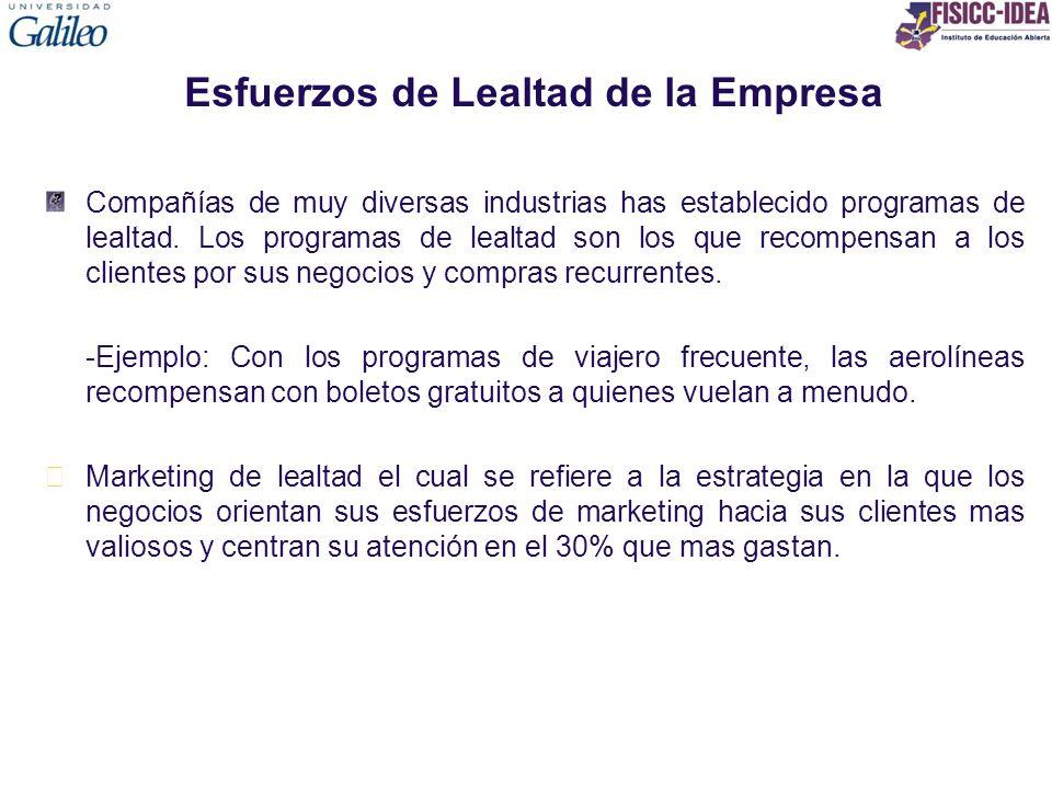 Esfuerzos de Lealtad de la Empresa Compañías de muy diversas industrias has establecido programas de lealtad. Los programas de lealtad son los que rec