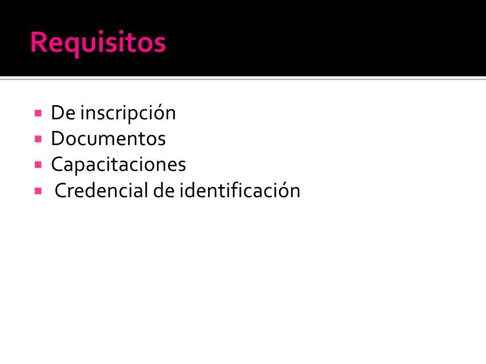De inscripción Documentos Capacitaciones Credencial de identificación