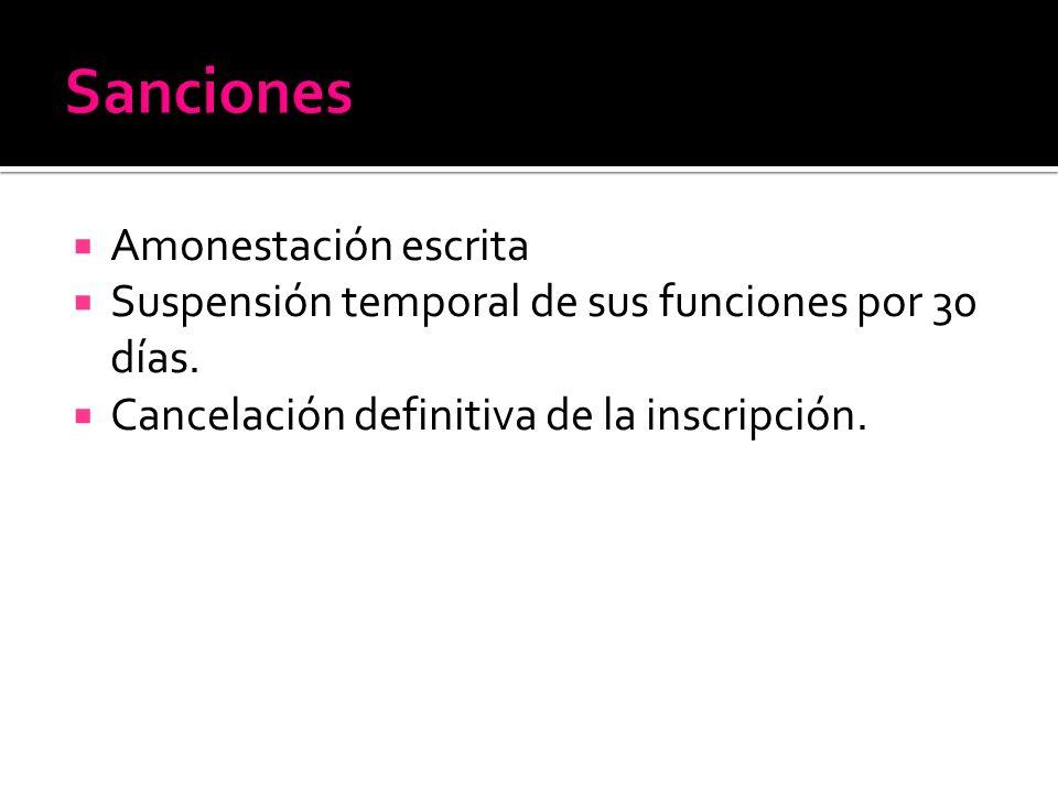 Amonestación escrita Suspensión temporal de sus funciones por 30 días.